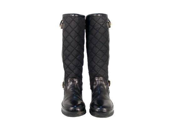Ralph Lauren Collection Purple Label Tall Quilted Rubber Winter Black Boots Image 2