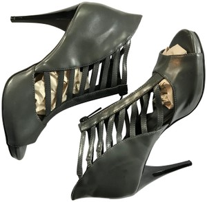 Limelight Stiletto Caged Style Gladiator Heels Gray Sandals