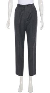 Escada Pinstripe High Rise Wool Tapered Lags Straight Pants grey