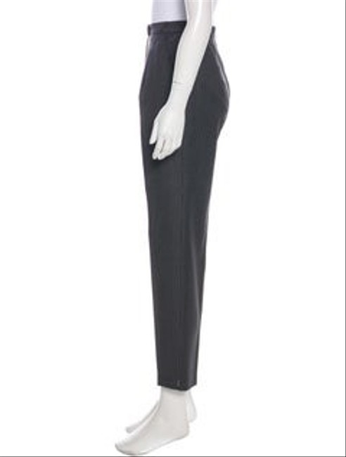Escada Pinstripe High Rise Wool Tapered Lags Straight Pants grey Image 1