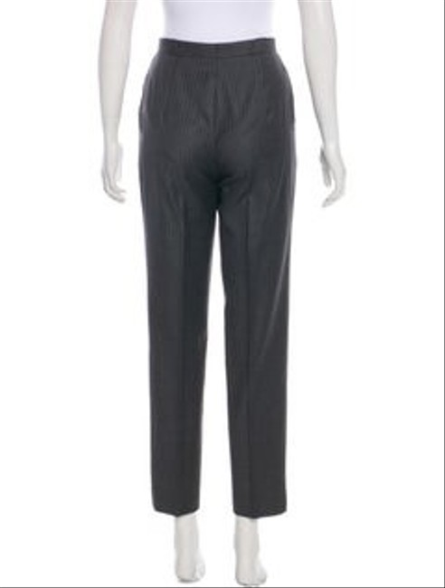 Escada Pinstripe High Rise Wool Tapered Lags Straight Pants grey Image 2