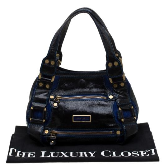 Jimmy Choo Leather Suede Tote in Black Image 10