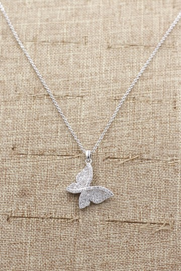Ocean Fashion Sterling silver shiny crystal butterfly necklace Image 3