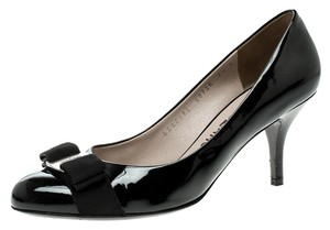 Salvatore Ferragamo Patent Leather Leather Black Pumps