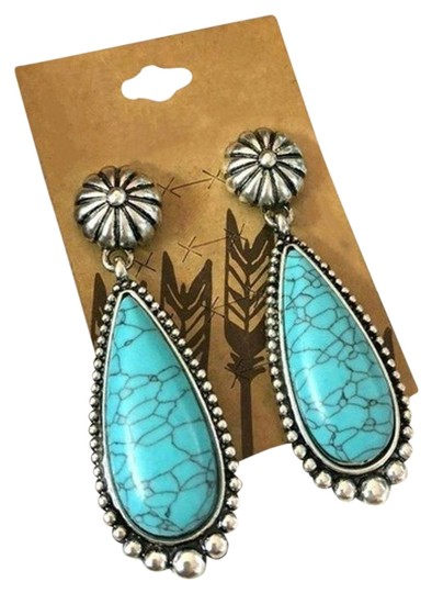 Other Silver Turquoise Teardrop Dangle Earrings Image 0