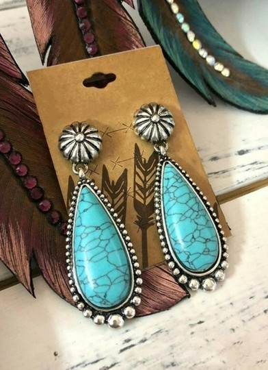 Other Silver Turquoise Teardrop Dangle Earrings Image 1