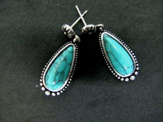 Other Silver Turquoise Teardrop Dangle Earrings Image 2