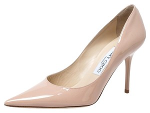 Jimmy Choo Patent Leather Pointy Toe Beige Pumps