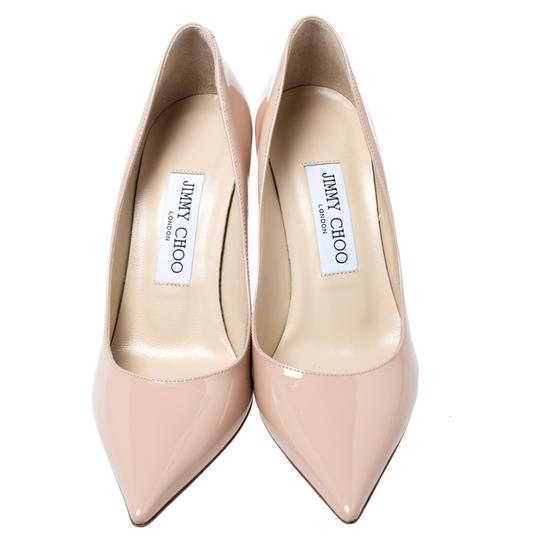 Jimmy Choo Patent Leather Pointy Toe Beige Pumps Image 2