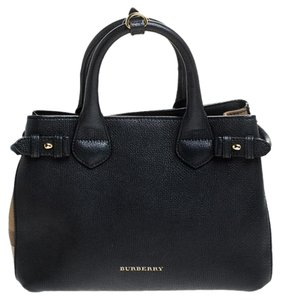 Burberry Leather Canvas Tote in Black