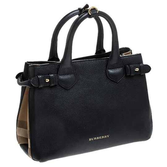 Burberry Leather Canvas Tote in Black Image 3