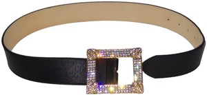 Alessandra Rich Alessandra Rich Leather & Crystal RHINESTONE BUCKLE Belt Size S