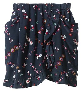 Rebecca Taylor Navy Mini Skirt Midnight Floral Print (Navy)