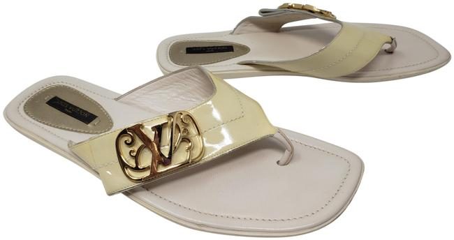 Item - Gold White Patent Leather Lv Logo Buckle Sandals Size EU 39 (Approx. US 9) Regular (M, B)
