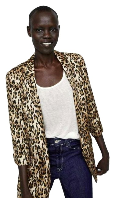 Item - Brown Leopard 3/4 Sleeves Blazer Size 0 (XS)
