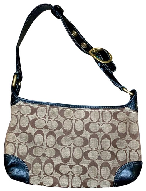 Item - Shoulder Bag Bleecker Jacquard Signature Monogram F0726-11430 Tan Brown with Brass Hardware Canvas Baguette