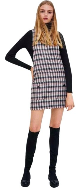Item - Multicolor XS W Metallic Thread Tweed Pinafore W/ Front Pockets Pink Bnwt Short Casual Dress Size 2 (XS)