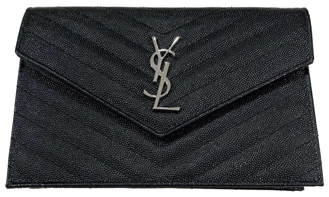 Item - Ysl Woc Black and Silver Leather Cross Body Bag