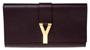 Saint Laurent Satin Leather Burgundy Clutch