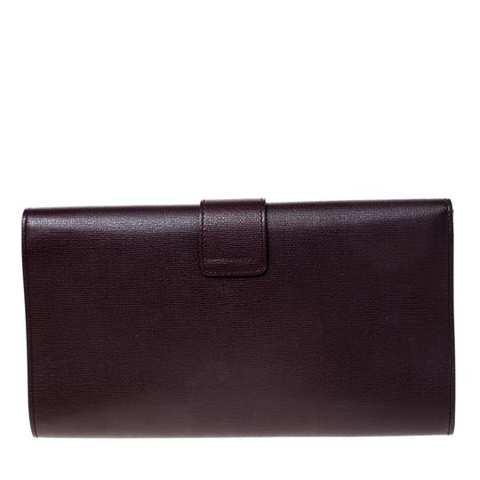 Saint Laurent Satin Leather Burgundy Clutch Image 1