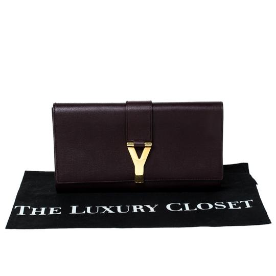 Saint Laurent Satin Leather Burgundy Clutch Image 11