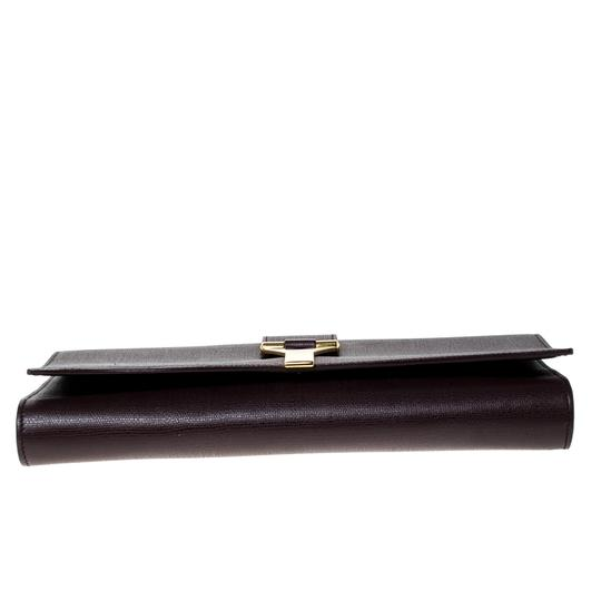 Saint Laurent Satin Leather Burgundy Clutch Image 4