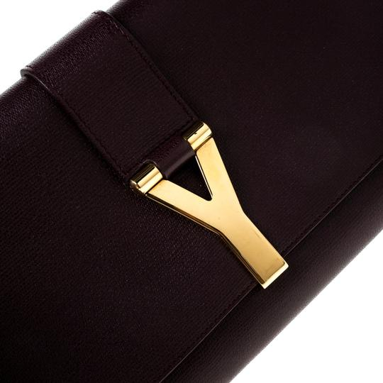 Saint Laurent Satin Leather Burgundy Clutch Image 7