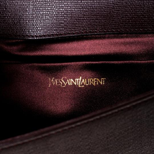 Saint Laurent Satin Leather Burgundy Clutch Image 8