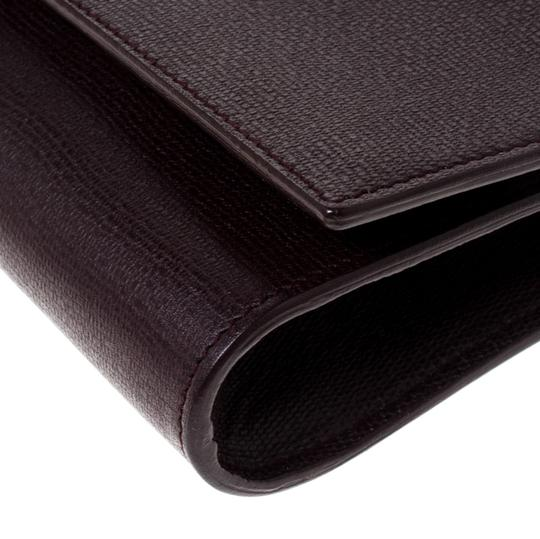 Saint Laurent Satin Leather Burgundy Clutch Image 9