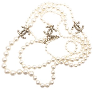 Chanel Chanel Gold Sketchy Line CC 2 Strand Faux Pearl Necklace