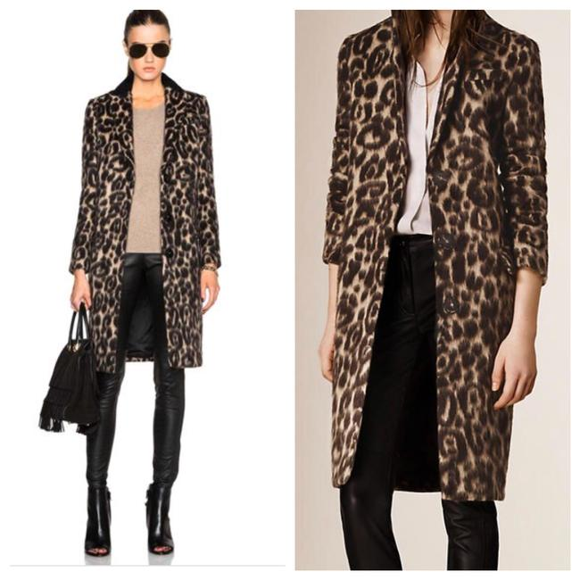 Item - Black Tan Brown Camel Shearling Trim Leopard Print Tailored Coat Size 6 (S)