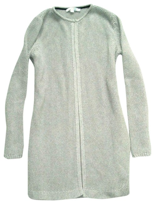Item - Gray Textured Open Front Long Cardigan Sweater Coat S Jacket Size 6 (S)