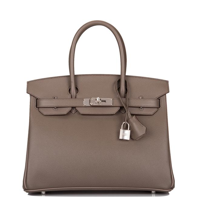 Item - Birkin Hss So Bi-color Etain and Gris Asphalte Epsom 30cm Palladium Grey Leather Satchel