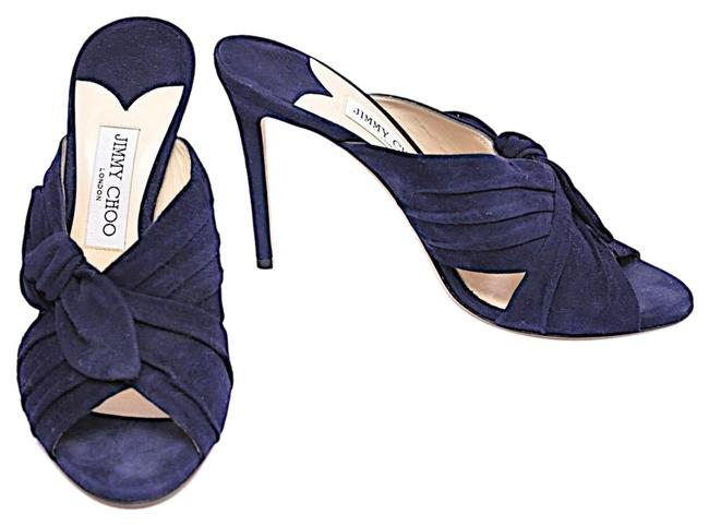 Item - Navy Blue Suede Pleated Accent Slide with Knot Detail Pumps Size EU 40 (Approx. US 10) Regular (M, B)