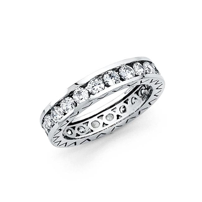 Item - White Gold 14k Solid Eternity Size 5 Women's Wedding Band