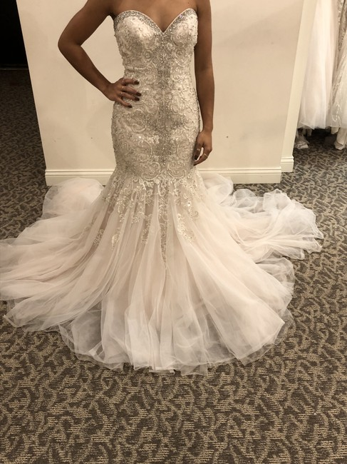 Allure Bridals Champagne/Ivory/Silver Tulle 9275 Formal Wedding Dress Size 8 (M) Allure Bridals Champagne/Ivory/Silver Tulle 9275 Formal Wedding Dress Size 8 (M) Image 1