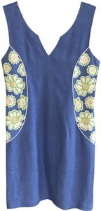 Bella Tu short dress Blue Linen Cotton Flowers Embroidered Floral on Tradesy