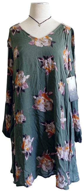 Item - Green Floral Bohemian Gypsy Hippie Short Casual Dress Size 4 (S)