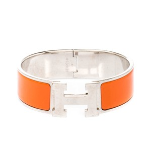 Hermès Hermès Clic Clac H Orange Enamel Palladium Plated Wide Bracelet GM