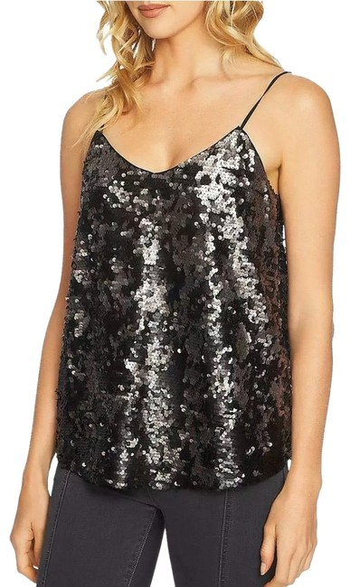 Item - Nordstrom's Dramatic Pause Sequin Tank Silver Black Top