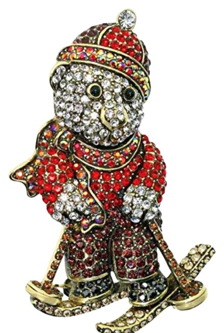 Item - Brown Red Breckenridge Bear Ski Resort Swarovski Crystal Brooch Pin