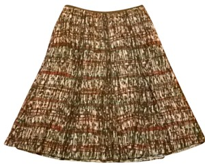 NIC+ZOE Patterned Tribal Ethnic Skirt Forest Green, Tan, Burnt Orange