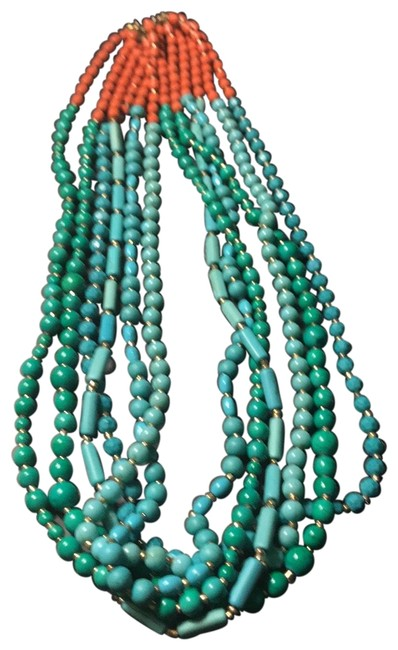Item - Multi - Turquoise Coral and Green Layer Color Beads Necklace