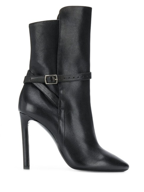 Item - Black Gr Leather High-heeled Pointed Ankle Boots/Booties Size EU 39 (Approx. US 9) Regular (M, B)