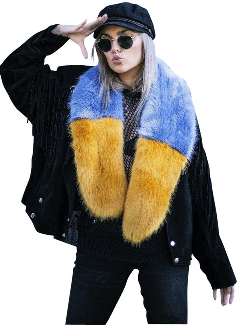 Item - Yellow & Blue Oversized Faux Fur Stole Scarf/Wrap