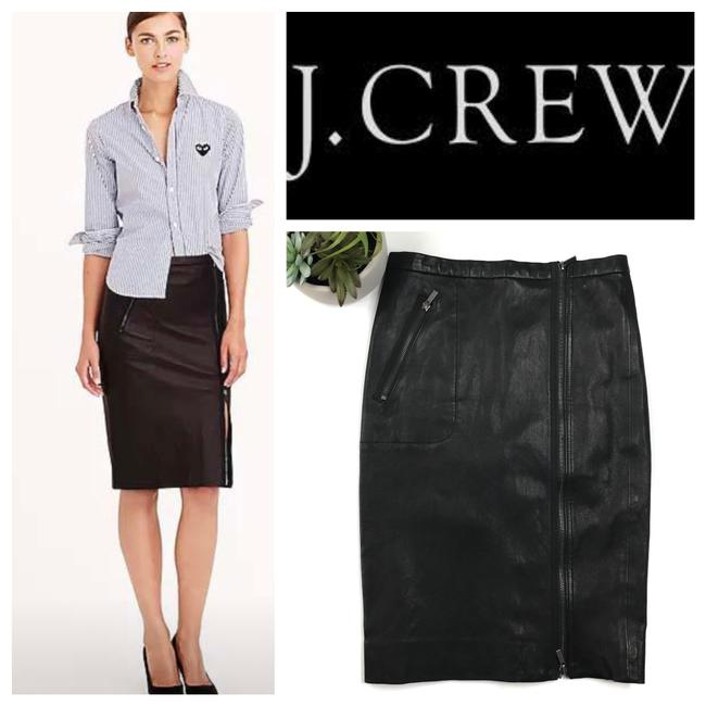 Item - Black Rare Collection Asymmetrical Leather Zip Pencil Skirt Size 0 (XS, 25)