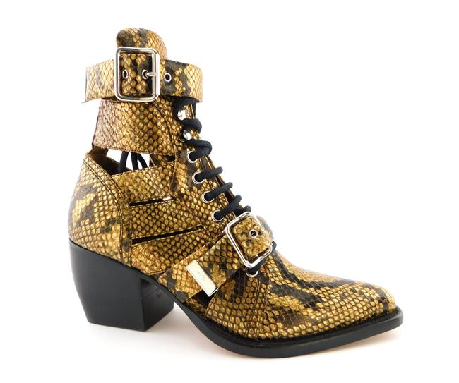 Item - Gold Snake Python Embossed Leather Cage Buckle Block-heel Ankle Boots/Booties Size EU 36.5 (Approx. US 6.5) Regular (M, B)