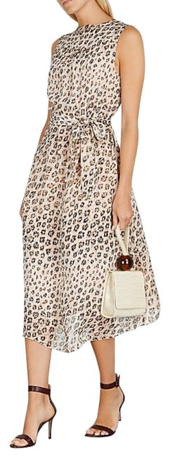 Item - Cream and Brown Leopard Print Corrin Silk Midi Mid-length Night Out Dress Size 6 (S)