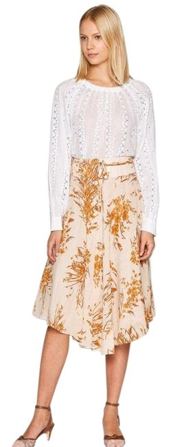 Item - Peach and Cream Floral Arvina Silk Skirt Size 4 (S, 27)