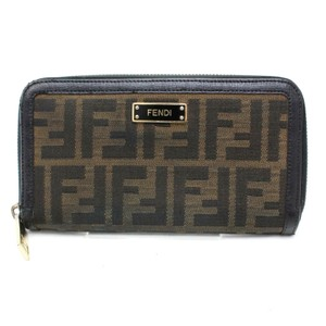 Fendi Zucca Canvas Leather Long Clutch Zippy Wallet